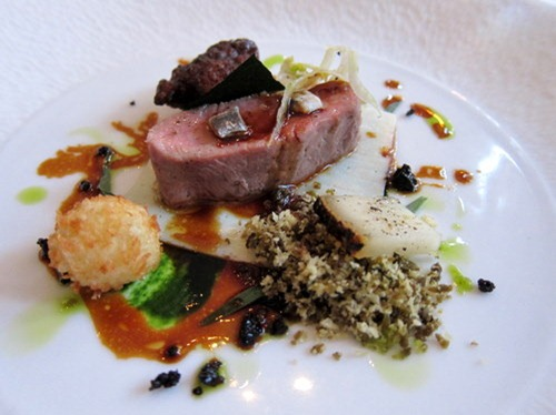 Loin of Romney Marsh Lamb, Tarragon purée, Berkswell sheep cheese, black olive crumb