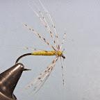 4. Przywiązuje nawinięte pióro, ostrożnie przewijam nawinięte zwoje jeżynki nicią wiodącą w kierunku uszka haczyka, starając się nie zdeformować promieni. Wykonuję główkę, lakieruję bezbarwnym szelakiem. Partridge & Yellow gotowa.