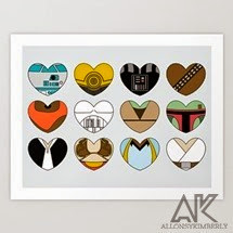Star Wars Character Hearts Art Print by August Decorous on Society6