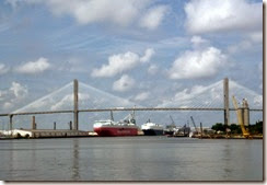 Active port beyond the Talmadge Memorial Bridge