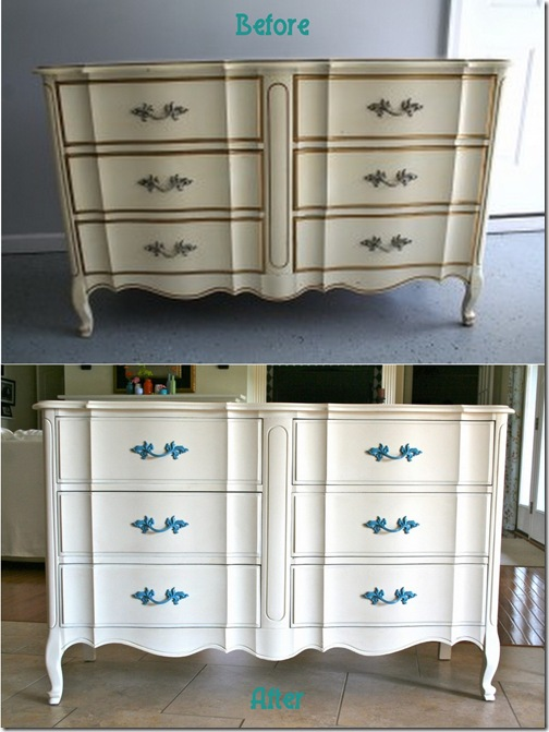 Refresh Restyle - French provencial dresser before & after 070411