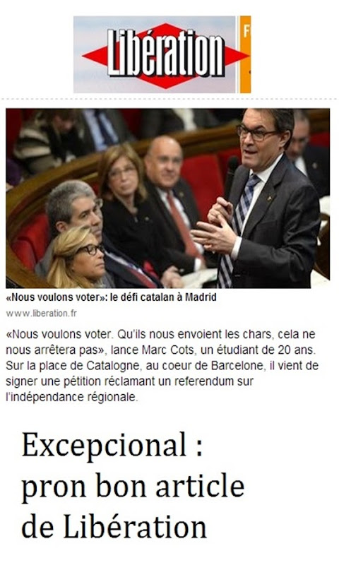 Article de Libération sobre catalonha