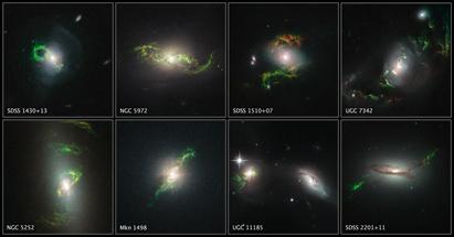 oito estruturas invulgares orbitando suas galáxias hospedeiras