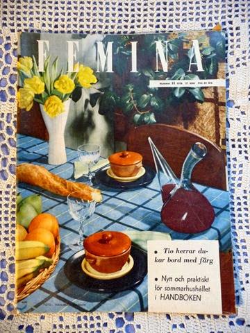 Tio herrar dukar bord med färg,  Femina nr 22, 1956