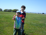 Eidan and Kai flying a kite at Brenton Point in Newport