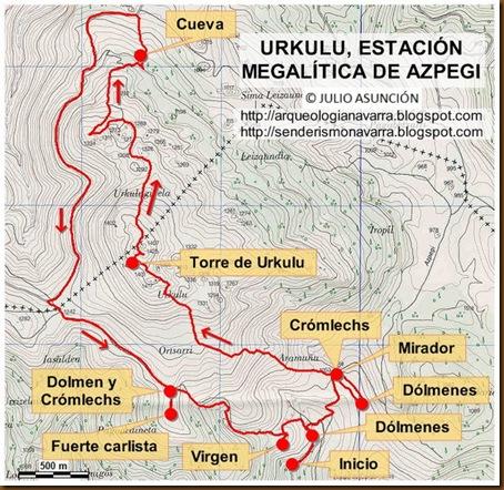 Mapa Torre de Urkulu - Estación megalítica de Azpegi