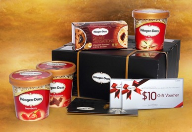 HAAGEN-DAZS ROYAL CELEBRATION  gift set 3 pints ice cream, Secret Sensations twin pack  $20 gift voucher