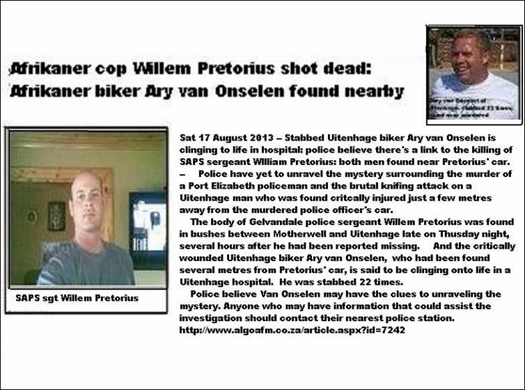 PretoriusWillemSAPSGelvandalePortElizabethShotDeadBushesMotherwellUitenhageVanOnselenSurvived