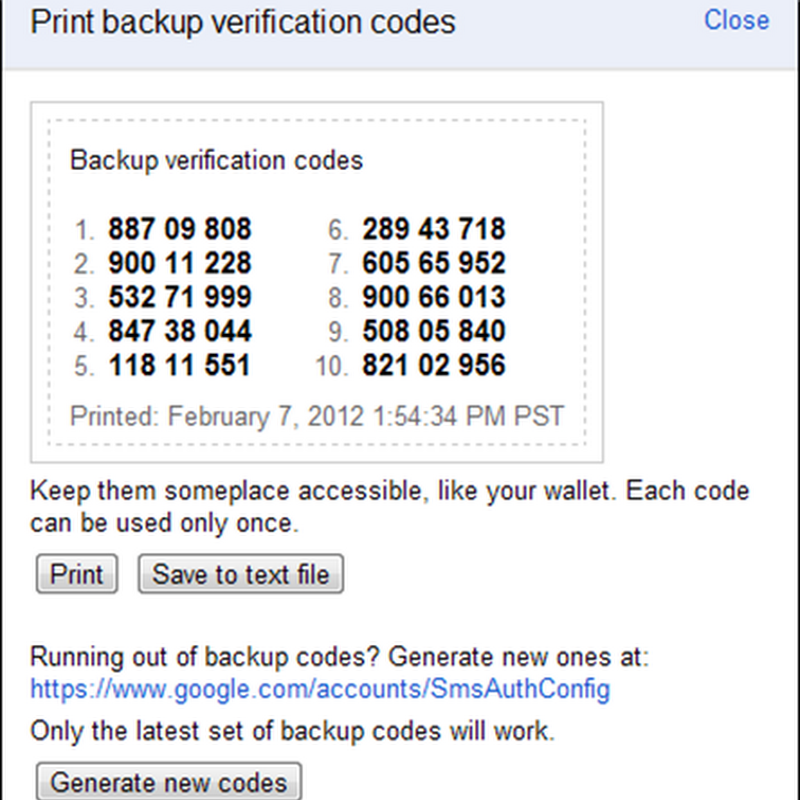 Accesso utilizzando i codici di backup disponibili nella pagina relativa alla panoramica di Google Account.