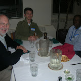 Fr. Bill Creed, SJ and Herb Adams (retreatant) enjoy dinner together at the Arrupe House Jesuit Community.