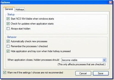 NCS WinVisible opzioni generali