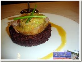 Manikan's ponkan glazed pork medallions in black rice & Asian slow on the side