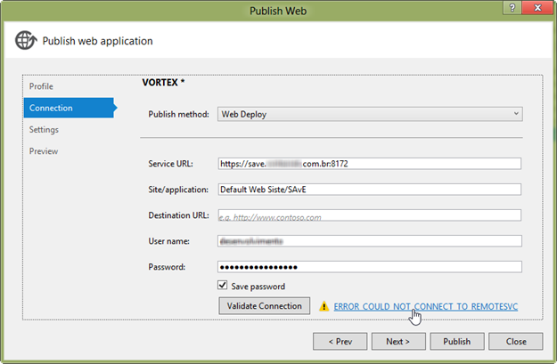 Visual Studio 2012 Publish project with Web Deploy and Validate Connection error