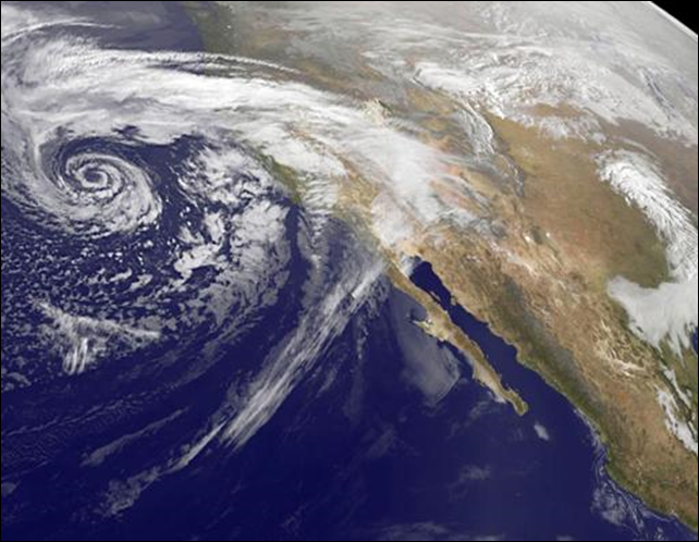 A swirling Eastern Pacific Ocean storm system headed for California is seen in an image from NOAA's GOES-West satellite taken at 0930 EST (1430 GMT) on 28 February 2014. According to the National Weather Service, this storm system has the potential to bring heavy rainfall to the drought-stricken state. Photo: NASA / NOAA / REUTERS