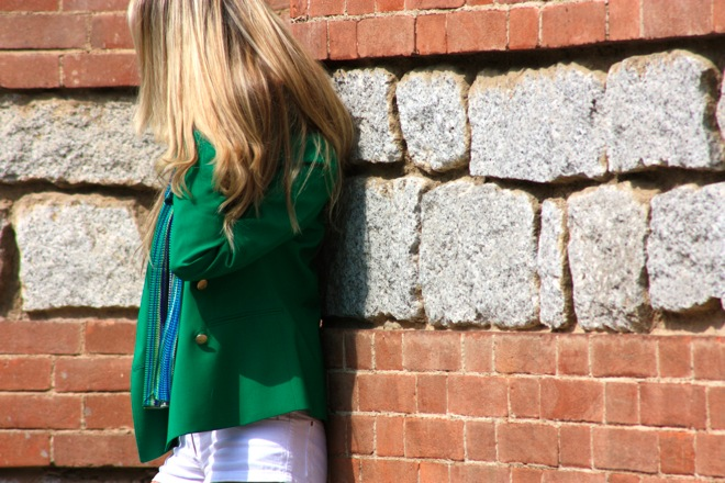 green jacket, outfit white