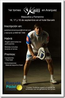 1er Torneo Pádel de la firma KAITT en Hotel Barceló Aranjuez del 16 al 18 septiembre 2011.