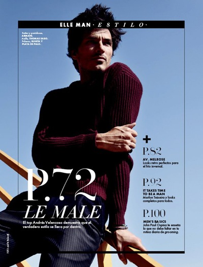 Andrés Velencoso Segura by Antía Pagant for Elle Man México, November 2011.  Styled by Gerard Angulo
