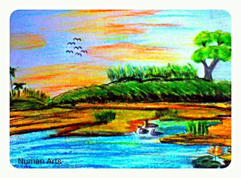 Amazing Nature With Oil Pastels Beautiful Landscape Drawing
