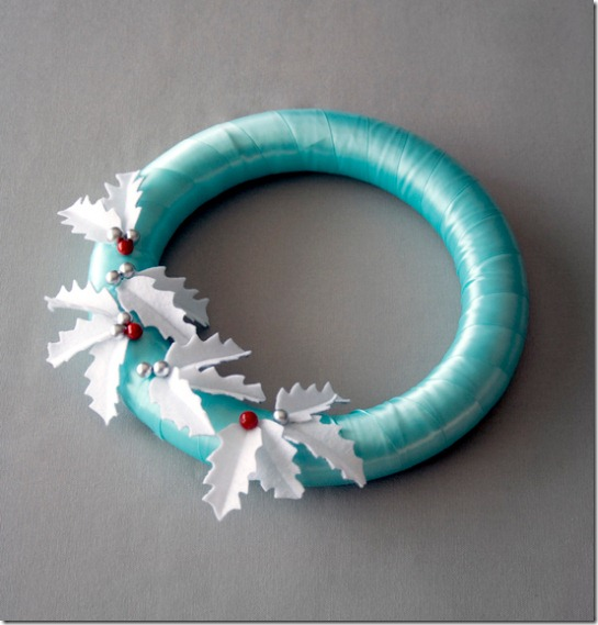 Winter wreath--satin ribbon wrapped wreath with felt holly leaves