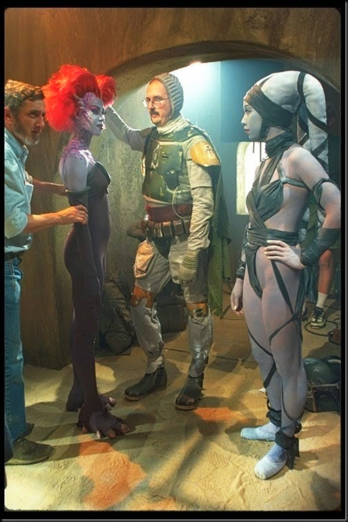 Boba Fett unmasked on the set Jabba's Palace scenes Star Wars special edition