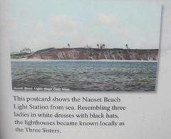 Cape Cod lighthouse 3 sisters postcard
