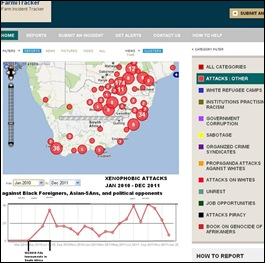CRIME MAPS XENOPHOBIC ATTACKS DROP SINCE OCT 2011 MAP
