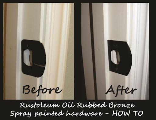 how to spray paint hardware door knobs shower bathroom fixtures faucets with rustoleum oil rubbed bronze