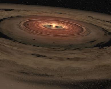 ilustração de disco de poeira ao redor de estrela