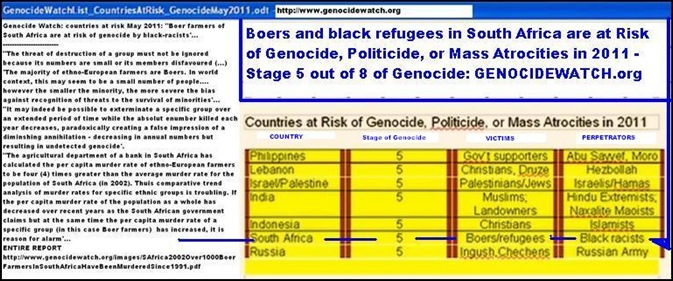 GenocideWatch2011_BoersRefugeesAtRiskOfGenocideByBlackRacistsJul2011