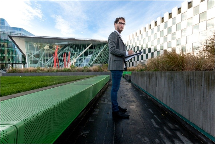 09/11/2011 -- ADV PHOTOJOURNALISM -- Architect, building, construction, design, project, proportions, DCU, Dublin, Grand Canal, theatre, conceptual, horizontal -- model: Christian Tadeo Ramos -- Photograph: Aleksander Szojda / DCU