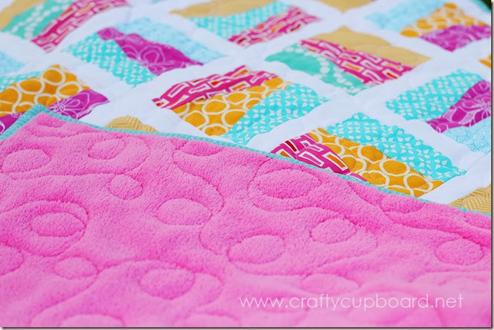 Rock A Bye Quilt Loopy Quilting on Minky back