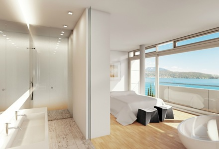 diseño-habitacion-y-baño-de-casa-en-Villa-Gardone-de-Richard-Meier-&-Partners