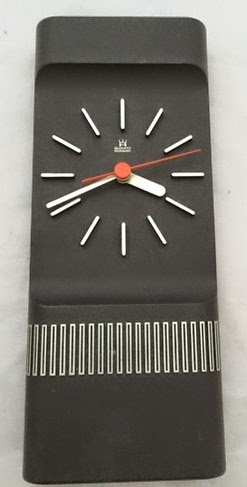 vintage black plastic wall clock front