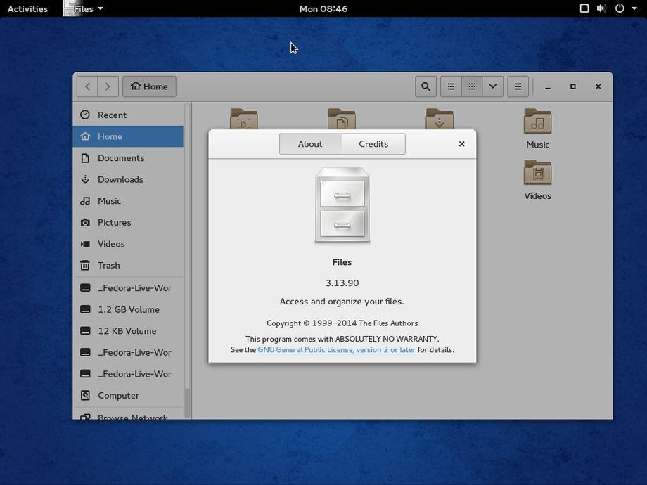 Fedora 21 con la Beta di Gnome 3.14
