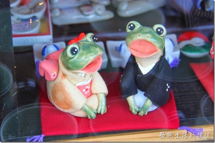日本北九州-由布院街道。櫥窗內的一對新婚的青蛙。