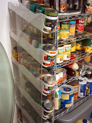 Finished home made canned good rotation shelf