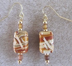 Cape brown and tan rectangule earrings