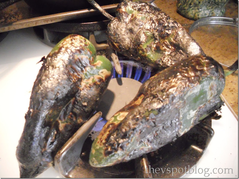 poblano peppers, charred, rajas