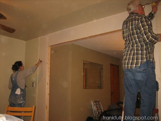 drywalling the opening