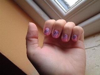 pink purple swirl bundle monster stamping nail art design