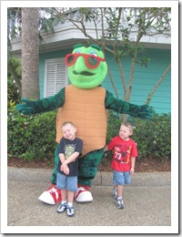 Florida vacation Sea World Cody Kyle with sea turtle charecter