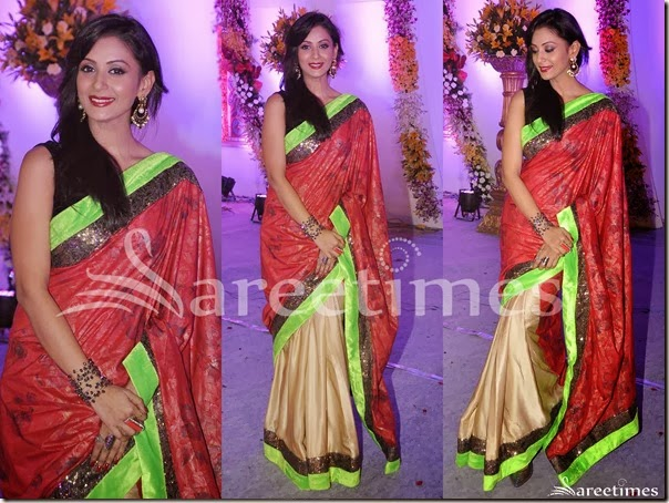 Red_Cream_Half_and_Half_Saree