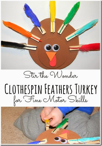Clothespin Feathers Turkey for Preschoolers