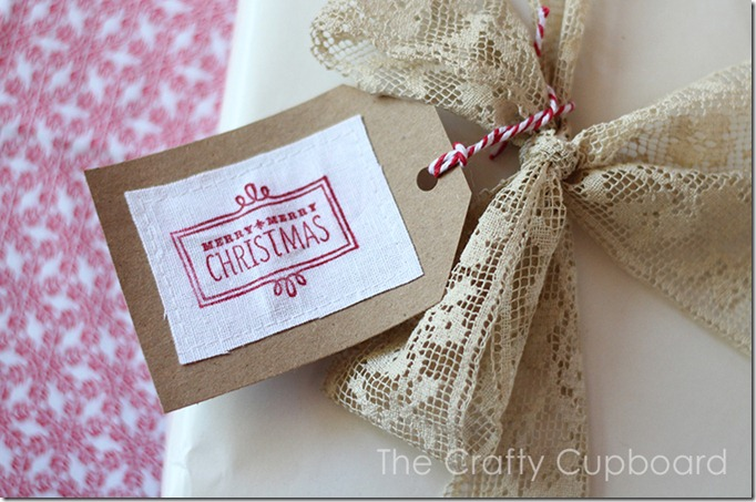 Merry Christmas Stamped Tag in Red by the Crafty Cupboard