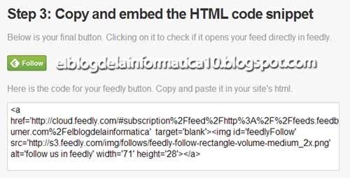 Botón Feedly para blog - 3º paso Código HTML generado