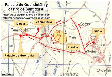Mapa ruta palacio Guendulain - castro Santitxusti