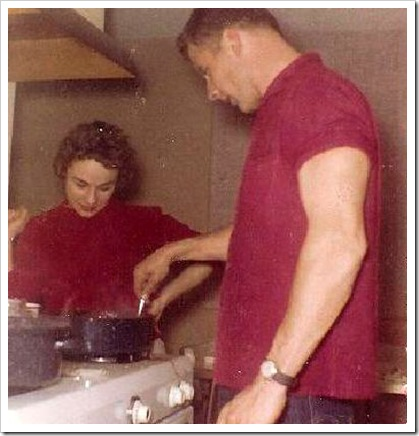 50th- dad cooking for momA