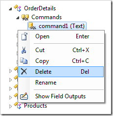 Delete context menu option for command1.