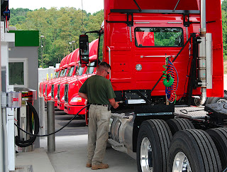 Pennsylvania's Giant Eagle was the launch customer for the ISL G-powered VNM daycab (F&F, July 18). Note CNG fuel tank assembly by Agility Fuel Systems.