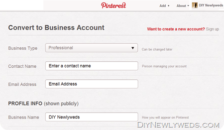 Sign up for Pinterest Business Account